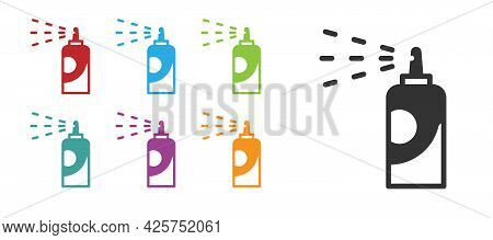 Black Spray Can For Hairspray, Deodorant, Antiperspirant Icon Isolated On White Background. Set Icon