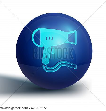 Blue Hair Dryer Icon Isolated On White Background. Hairdryer Sign. Hair Drying Symbol. Blowing Hot A