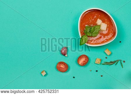Tomato Gazpacho Soup With Basil And Croutons, Refreshing Vegetarian Puree Soup. Spanish Cuisine. Fla