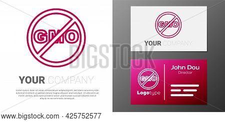 Logotype Line No Gmo Icon Isolated On White Background. Genetically Modified Organism Acronym. Dna F