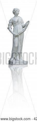 Marble Statue Of Antique Goddess Flora Isolated On White Background. Design Element With Clipping Pa