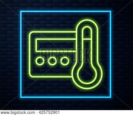 Glowing Neon Line Thermostat Icon Isolated On Brick Wall Background. Temperature Control. Vector