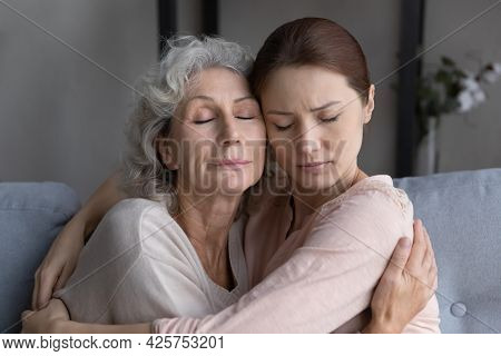 Loving Mature Old Female Mommy Support Upset Grownup Kid Daughter