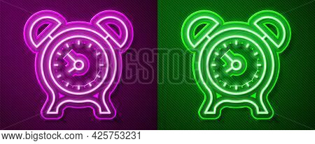 Glowing Neon Line Alarm Clock Icon Isolated On Purple And Green Background. Wake Up, Get Up Concept.