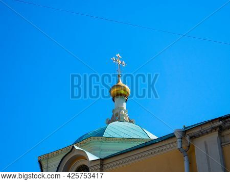 Close-up Of The Golden Domes Of The Church. Religion, Christianity