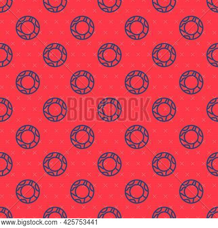 Blue Line Rubber Swimming Ring Icon Isolated Seamless Pattern On Red Background. Life Saving Floatin
