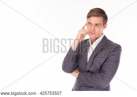 Young Handsome Clever Man In Suit Looking To Copy Space Thinking Or Dreaming Business Executive Guy