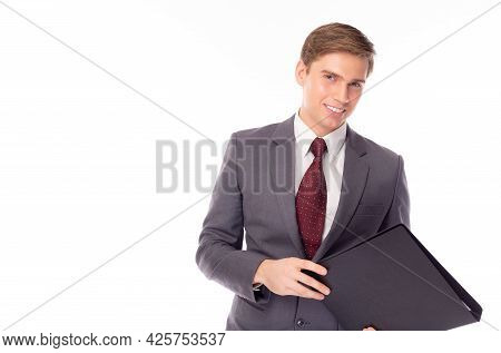 Happy Young Executive Businessman Look At Camera Attractive Business Man Standing Over Isolated On W