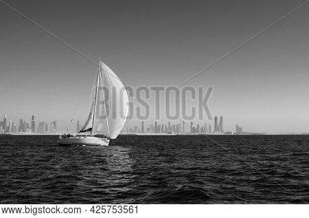 Sailboat On The Arabian Gulf Near Dubai