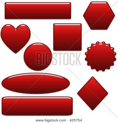 Botões de vidro vermelho branco site