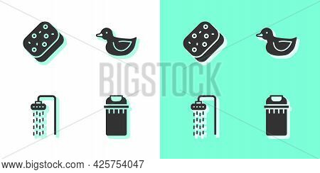 Set Trash Can, Sponge, Shower And Rubber Duck Icon. Vector