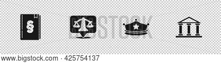 Set Law Book, Scales Of Justice, Police Cap With Cockade And Courthouse Building Icon. Vector