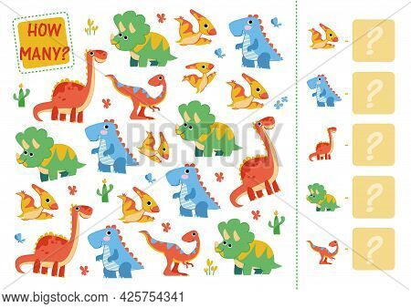 Count How Many Dinosaurs. Mini Math Game How Many For Preschoolers And Kindergarten. Cartoon Vector