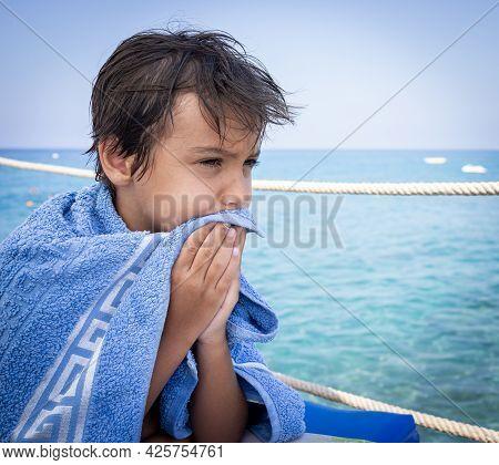 Little Cute Boy On Sea Pier Enjoying Vacation