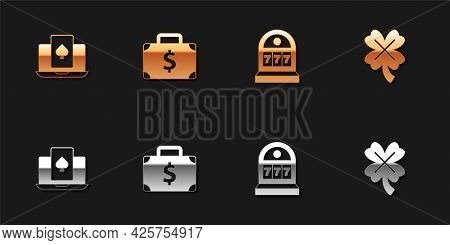 Set Online Poker Table Game, Briefcase And Money, Slot Machine With Jackpot And Casino Slot Clover I