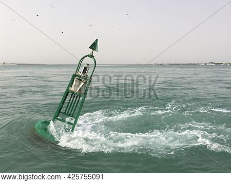 Buoy Entrance Channel Marker The In Arabian Gulf Waters Of Abu Dhabi