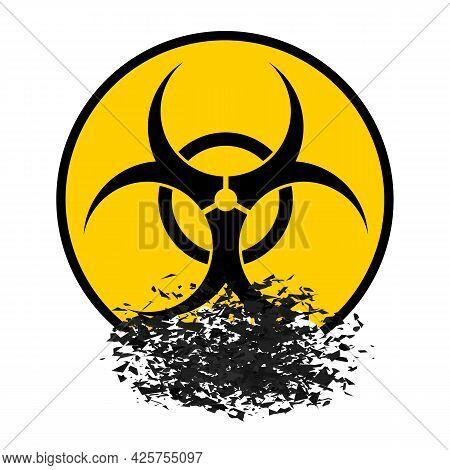 Beware Biohazard Sign Isolated On White Backgrouind. International Hazard Symbol. Warning Icon Of Vi