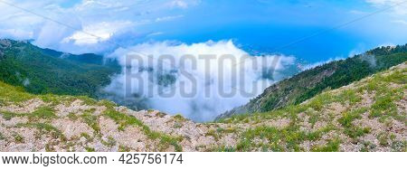 View From The Top Of The Mountain To The Black Sea And The City Of Yalta (panorama)