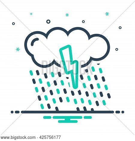 Mix Icon For Rain Drop Raindrop Rainfall Cloud Waterfall Weather