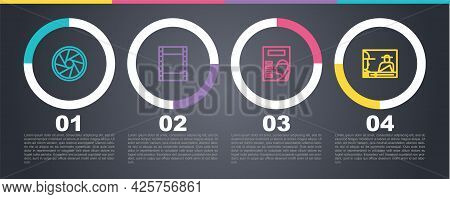 Set Line Camera Shutter, Play Video, Cinema Poster And Online Play Video. Business Infographic Templ