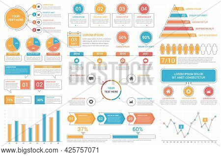 Infographic Elements - Bar And Line Charts, Percents, Pie Charts, Steps, Options, Timeline, People I