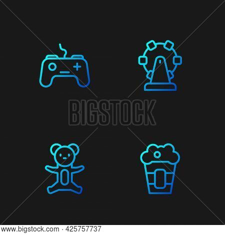 Set Line Popcorn In Box, Teddy Bear Plush Toy, Gamepad And Ferris Wheel. Gradient Color Icons. Vecto