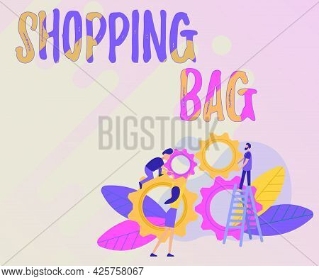 Writing Displaying Text Shopping Bag. Concept Meaning Containers For Carrying An Individualal Posses