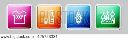 Set Line Ussr T-shirt, Bottle Of Vodka With Glass, Rocket Ship And Saint Basils Cathedral. Colorful