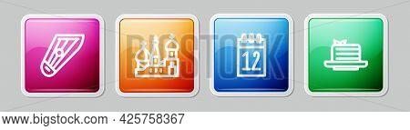 Set Line Kankles, Saint Basils Cathedral, Calendar 12 June And Medovik. Colorful Square Button. Vect