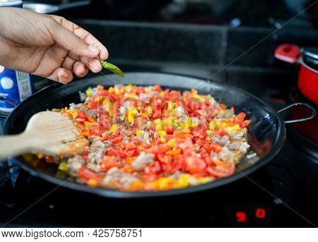 Preparing Delicious Food At Home Close Up