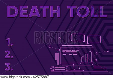 Conceptual Display Death Toll. Business Concept The Number Of Deaths Resulting From A Particular Inc