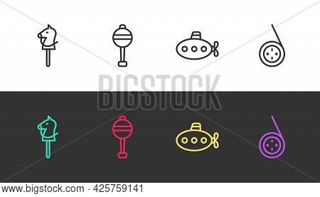 Set Line Toy Horse, Rattle Baby Toy, Submarine And Yoyo On Black And White. Vector