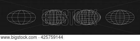 Wireframe Ellipse Planets In Old Cyberpunk Style. Retrofuturistic Design Elements. Cyber Planet Set.