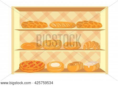 Showcase With Bakery Products In A Supermarket.