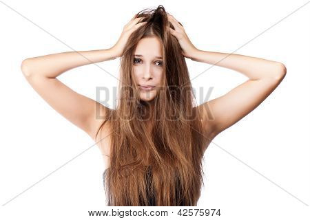 Woman With Tangled Hair. Isolated