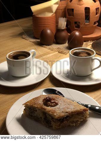 Baklava And Oriental Coffee In A Georgian Restaurant