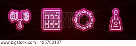 Set Line Musical Tuning Fork, Drum Machine, Dial Knob Level And Balalaika. Glowing Neon Icon. Vector