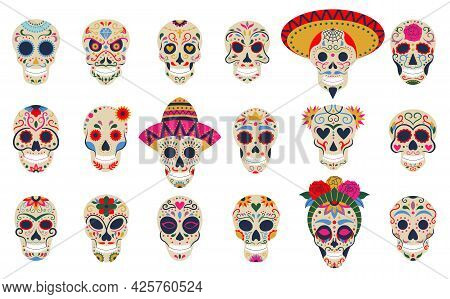 Dia De Los Muertos Skulls. Day Of The Dead Festival Skulls, Floral Sugar Human Head Bones Vector Sym