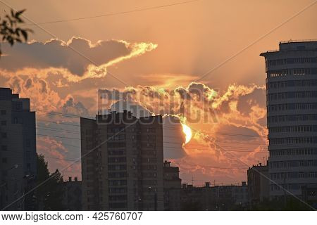 City Houses And Evening Cumulus Beautiful Clouds