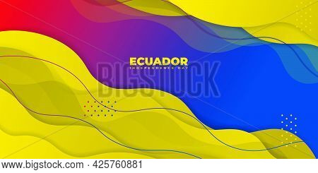 Ecuador Independence Day With Yellow Abstract Background Design. Good Template For Ecuador National