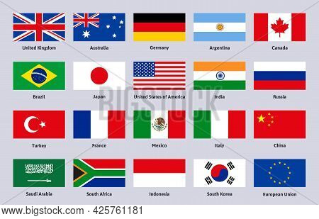 Group Of Twenty Flags. Major Advanced And Emerging World Countries, China, Brazil And Italy Signs Ve