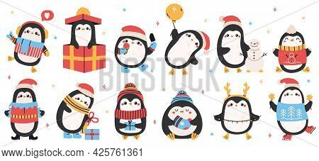 Cute Holiday Penguins. Christmas Hand Drawn Penguins, Xmas Holiday Winter Penguin Characters Isolate