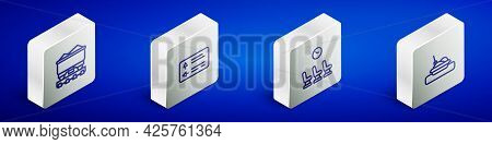 Set Isometric Line Coal Train Wagon, Road Traffic Signpost, Waiting Room And Plate With Food Icon. V