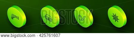 Set Isometric Line Vintage Pistols, Sailor Hat, Smoking Pipe And Ship Steering Wheel Icon. Vector