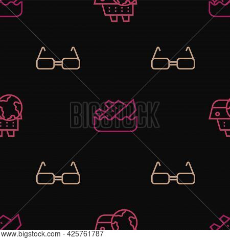 Set Line Cruise Ship, Glasses And Sinking Cruise On Seamless Pattern. Vector