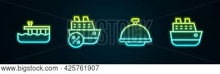 Set Line Beach Pier Dock, Cruise Ship, Covered With Tray And . Glowing Neon Icon. Vector