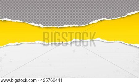 Torn, Ripped, Yellow, Squared Grey Paper Strips With Soft Shadow Are On White Stained Background For
