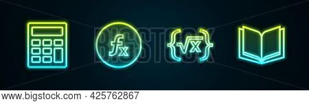Set Line Calculator, Function Mathematical Symbol, Square Root Of X Glyph And Open Book. Glowing Neo