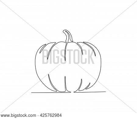Pumpkin Continuous Line Art Drawing Style. Minimalist Black Pumpkin Outline. Editable Active Stroke