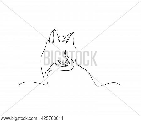 Dog Continuous Line Art Drawing Style. Minimalist Black Husky Outline. Editable Active Stroke Vector